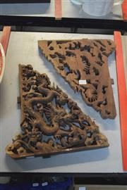 Sale 8189 - Lot 2171 - Timber Carved Pair of Dragon Wall Decorations