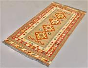 Sale 8445K - Lot 65 - Summer Afghan Tribal Kilim Rug , 205x103cm, Finely handwoven in Northern Afghanistan using high quality local wool. Vibrant summer c...