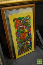 Sale 8541 - Lot 2106 - 2 Works: M.Opie Abstract Unframed Oil on Canvas SLR with R.Daniel Still Life Framed Pastel on Paper SLR