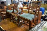 Sale 8566 - Lot 1510 - Set of 7 Oak Dining Chairs