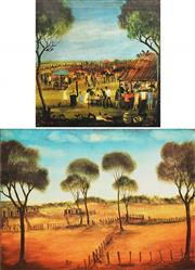 Sale 8604 - Lot 2098 - Kevin Charles (Pro) Hart (1928 - 2006) (2 works) - Country Races; Farm Yard Prints 33 x 33cm; 38 x 52cm