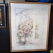 Sale 8636 - Lot 2036 - Elizabeth Jamieson - Interior Scene 1990 watercolour, 98.5 x 78cm (frame), signed and dated lower right
