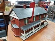 Sale 8741 - Lot 1005 - Vintage Model Railway Control House with US Post Box Interior