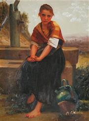 Sale 9009A - Lot 5060 - After A. Claudie - Seated Girl 39 x 29 cm (frame: 57 x 46 x 5 cm)