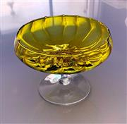 Sale 9031H - Lot 72 - Retro 1970s Yellow blown glass footed Tazza, H 18cm x D 23cm -