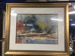 Sale 9118 - Lot 2047 - Helen Goldsmith  Country Homestead, watercolour, frame: 67 x 82 cm, signed lower right
