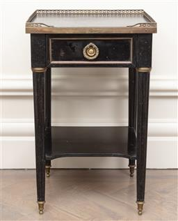 Sale 9130H - Lot 29 - French Empire bedside table with single drawer and shelf, Height 57cm x Width 36cm x Depth 36cm