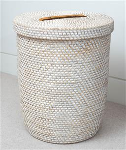 Sale 9150H - Lot 94 - A woven lidded laundry basket with lining, height 51cm, diameter 42cm