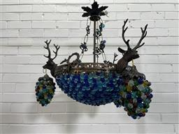 Sale 9154 - Lot 1052 - Beaded basket chandelier with brass stag head mounts - 136 (h50cm)