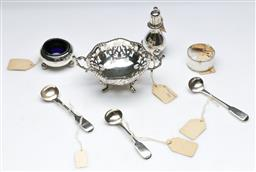 Sale 9164 - Lot 220 - A melange of sterling silver pieces incl salts, spoons and small dish