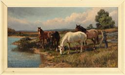 Sale 9190H - Lot 317 - F. Legge, horses in paddock by lake, oil on canvas, SLR, as found with hole to canvas, 50cm x 91cm