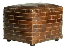 Sale 9250T - Lot 6 - A bourbon toned square ottoman in vintage aged leather with brick embroidery detailing. Height 43cm x Width 52cm x Depth 52cm