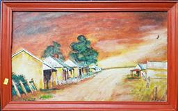 Sale 9208 - Lot 2094 - 2 Works: Lake & Country Town Scenes