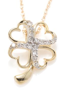 Sale 9221 - Lot 304 - A 10CT GOLD DIAMOND LUCKY CLOVER PENDANT NECKLACE; open frame set with 16 single cut diamonds, size 15mm x 12mm, on fine Prince of W...