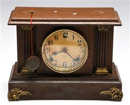 Sale 9253 - Lot 215 - A painted timber cased A . Saunders, Sydney, mantle clock (W:34.5cm) - UNTESTED - with key