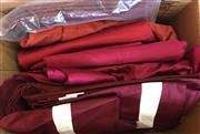 Sale 8310A - Lot 341 - A box of dark red bed linen, including doona covers, sheets and pillow cases, various styles
