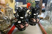 Sale 8360 - Lot 51 - Hand Painted Black Glass Pair Of Vases