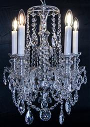 Sale 8444A - Lot 37 - A fine and beautiful Bohemian crystal 8 arm chandelier, with glass body, beaded canopy, bowl and bobeches, featuring clear sparkling...