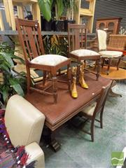 Sale 8465 - Lot 1682 - Timber Five Piece Dining Setting incl. Table on Stretcher Base & Four Chairs