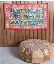 Sale 8515A - Lot 71 - A leather pouf with Egyptian motifs together with four Egyptian wall hangings