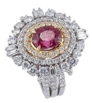 Sale 8974 - Lot 393 - AN 18CT TWO TONE GOLD SPINEL AND DIAMOND STAR BURST COCKTAIL RING; four claw set in yellow gold with an oval cut reddish pink 2.05ct...