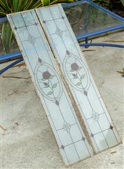 Sale 9070H - Lot 205 - Two leadlight style window panes with roses, 112cm x 21cm