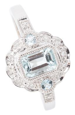 Sale 9140 - Lot 396 - A BELLE EPOCH STYLE AQUAMARINE AND DIAMOND RING; featuring an emerald cut aquamarine of approx. 0.68ct flanked by 2 round cut aquama...