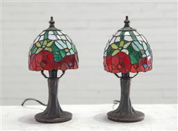 Sale 9134 - Lot 1517 - Pair of Tiffany style table lamps (h:27cm)