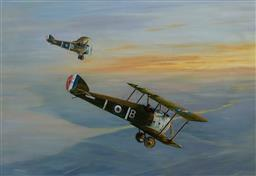 Sale 9161A - Lot 5110 - JACK WHITE - Two Sopwith Camels in Flight 44 x 64 cm (frame: 58 x 78 x2 cm)