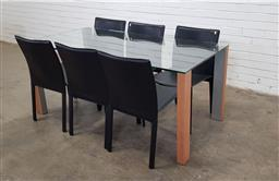 Sale 9166 - Lot 1034 - Modern glass top dining table with 6 chairs (h:73 x w:168 x d:83cm)