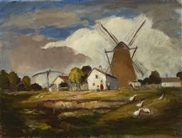 Sale 9195 - Lot 587 - IVANYI GRUNWALD BELLA (1867 - 1940) Windmill and Farm oil on canvas 60.5 x 79.5 cm (frame: 73 x 92 x 6 cm) signed lower right