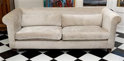 Sale 9248H - Lot 173 - A silver grey velvet upholstered three seater with piping to cushions and raised on timber feat.  200 x 78 x 76cm