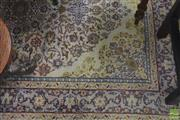 Sale 8282 - Lot 1011 - Vintage Persian Silk Carpet, with medallion on cream ground, retaining signature panel (220 x 142cm) (faults)