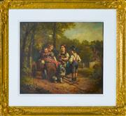 Sale 8349 - Lot 589 - Artist Unknown (XIX) - Untitled (Children At Play) 29 x 34cm