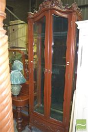 Sale 8359 - Lot 1728 - Tall Display Cabinet on Ball and Claw Feet with Glass Shelves