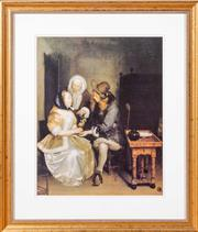 Sale 8562A - Lot 85 - Decorative print in a gilt frame, after Gerard der Borch, The Glass of Lemonade , 69 x 60cm