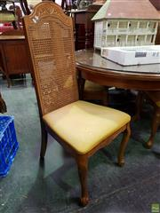 Sale 8570 - Lot 1060 - Set of Four High Rattan Back Dining Chairs with Cabriole Legs to Front