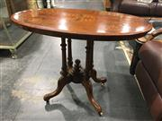 Sale 8795 - Lot 1021 - Victorian Inlayed Occasional Table over Birdcage Base