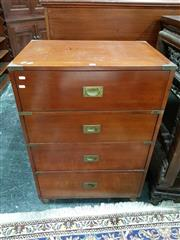 Sale 8939 - Lot 1018 - Tall Victorian Mahogany Campaign Chest of Four Drawers, with brass strap-work and inset handles. H: 97 W: 69 D: 47cm