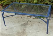 Sale 9070H - Lot 206 - A rectangular metal coffee table painted in royal blue with glass top and X base, Height 52cm x Width 126.5cm x Depth 71cm