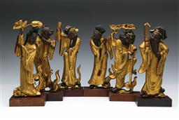 Sale 9098 - Lot 216 - Collection of Six Gilt Timber Musician Figures on Stands