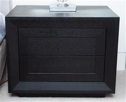 Sale 9150H - Lot 79 - A pair of black finished two drawer bedsides, height 49.5cm, width 62cm, depth 45cm