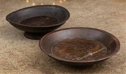 Sale 9160H - Lot 174 - Two hand carved and turned timber bowls, one footed example, Diameter 30cm, slight cracking