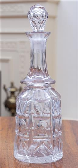 Sale 9190H - Lot 197 - A large antique elaborate hand cut lead crystal decanter C: 1890  Height 34cm