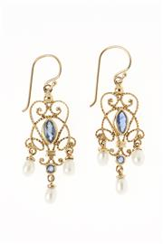 Sale 8343 - Lot 374 - A PAIR OF SAPPHIRE AND PEARL DROP EARRINGS; marquise and round cut blue sapphires in 9ct gold cannetille style frames suspending ova...