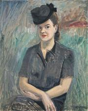 Sale 8459 - Lot 597 - Gideon Börje (1891 - 1965) - Sophie Fellenius, c1945 81 x 65.5cm