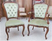 Sale 8515A - Lot 72 - A Victorian style elbow chair or carver with green velvet button back upholstery together with a single dining chair