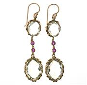 Sale 8547 - Lot 443 - A PAIR OF 9CT GOLD GEMSET DROP EARRINGS; each set with 2 oval chequerboard cut green amethysts joined by a line drop set with round...