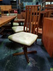 Sale 8550 - Lot 1033 - Unusual Set of Six Danish Teak Revolving Dining Chairs