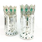 Sale 8545N - Lot 296 - Pair of Victorian Glass and Handpainted Lustres, one AF to base (H: 33cm)